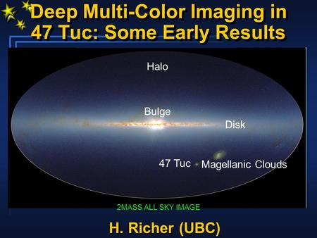 Deep Multi-Color Imaging in 47 Tuc: Some Early Results 2MASS ALL SKY IMAGE Disk Bulge Magellanic Clouds 47 Tuc Halo H. Richer (UBC)