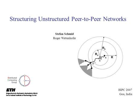 Structuring Unstructured Peer-to-Peer Networks Stefan Schmid Roger Wattenhofer Distributed Computing Group HiPC 2007 Goa, India.
