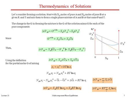 Lecture 18Multicomponent Phase Equilibrium1 Thermodynamics of Solutions Let's consider forming a solution. Start with X A moles of pure A and X B moles.