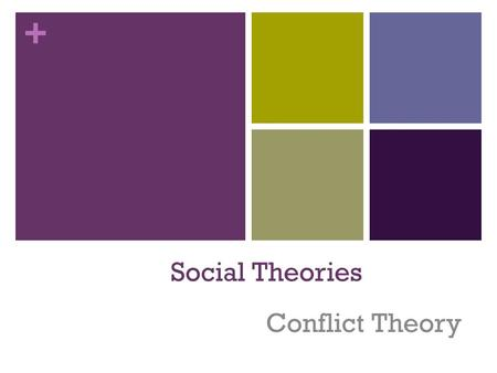 + Social Theories Conflict Theory. + Definition An sociological and political theory that explains that POWER forms the basis for sociological organization.