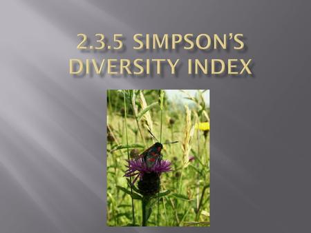  Simpson's Diversity Index is a measure of diversity. In ecology, it is often used to quantify the biodiversity of a habitat. It takes into account the.