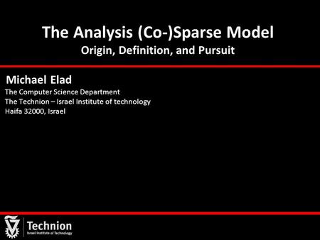 The Analysis (Co-)Sparse Model Origin, Definition, and Pursuit