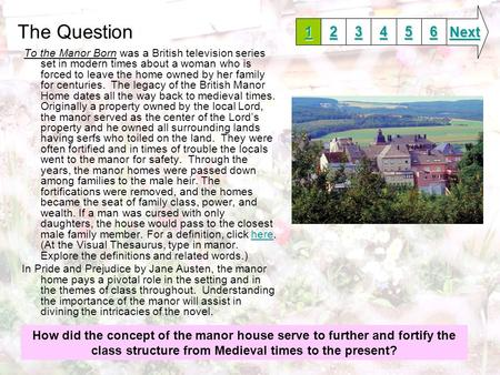 The Question To the Manor Born was a British television series set in modern times about a woman who is forced to leave the home owned by her family for.