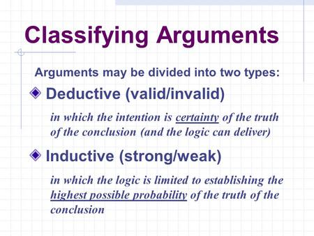Classifying Arguments Deductive (valid/invalid) Inductive (strong/weak) Arguments may be divided into two types: in which the intention is certainty of.