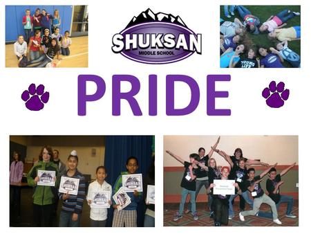 "PRIDE. Shuksan P.R.I.D.E ""We care about safety and learning."" Peace How do you show peace ? o Be nice o Walk calmly through the halls o Say ""hi"" o Focus."