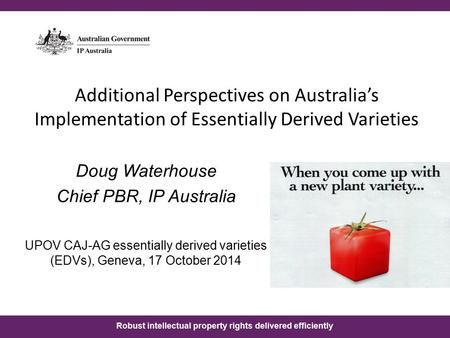 Robust intellectual property rights delivered efficiently Additional Perspectives on Australia's Implementation of Essentially Derived Varieties Doug Waterhouse.