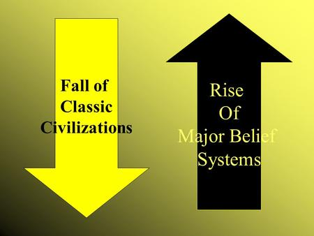 Rise Of Major Belief Systems Fall of Classic Civilizations.