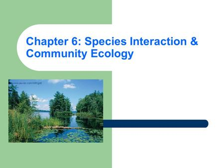 Chapter 6: Species Interaction & Community Ecology www.aw-bc.com/Withgott.