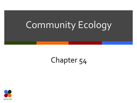 Community Ecology Chapter 54. Slide 2 of 20 Community  Def. – group of populations (different species) that live close enough to interact  Interspecific.