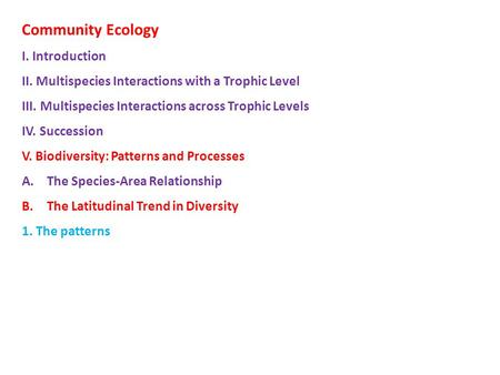 Community Ecology I. Introduction II. Multispecies Interactions with a Trophic Level III. Multispecies Interactions across Trophic Levels IV. Succession.