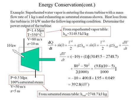Energy Conservation(cont.) Example: Superheated water vapor is entering the steam turbine with a mass flow rate of 1 kg/s and exhausting as saturated steamas.