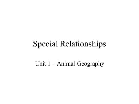 Special Relationships Unit 1 – Animal Geography. Habitat –vs- Niche Habitat –The location in which the organism lives (grasslands, freshwater, tree tops,
