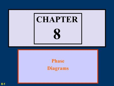 CHAPTER 8 Phase Diagrams 8-1.