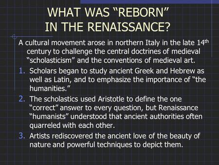 A reflection of the renaissance period