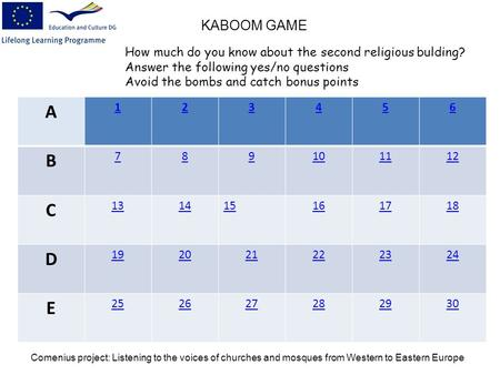 A 123456 B 789101112 C 131415161718 D 192021222324 E 252627282930 KABOOM GAME How much do you know about the second religious bulding? Answer the following.