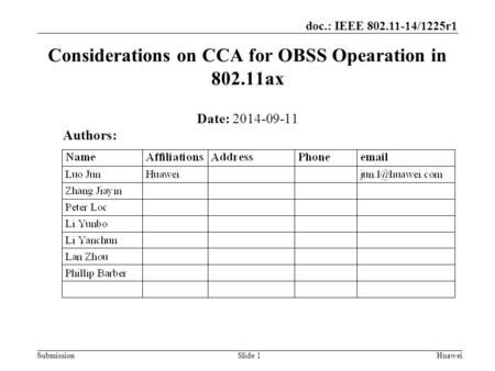Submission doc.: IEEE 802.11-14/1225r1 Considerations on CCA for OBSS Opearation in 802.11ax Date: 2014-09-11 Slide 1Huawei Authors: