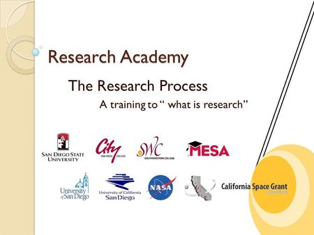"Research Academy The Research Process A training to "" what is research"""