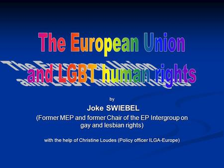 By Joke SWIEBEL Joke SWIEBEL (Former MEP and former Chair of the EP Intergroup on gay and lesbian rights) with the help of Christine Loudes (Policy officer.