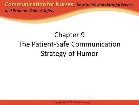 Chapter 9 The Patient-Safe Communication Strategy of Humor