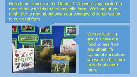 Hello to our friends in the Gambia! We were very excited to read about your trip to the crocodile farm. We thought you might like to read about when our.