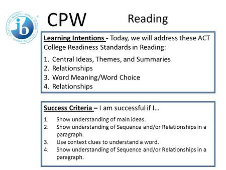 Learning Intentions - Today, we will address these ACT College Readiness Standards in Reading: 1.Central Ideas, Themes, and Summaries 2.Relationships 3.Word.