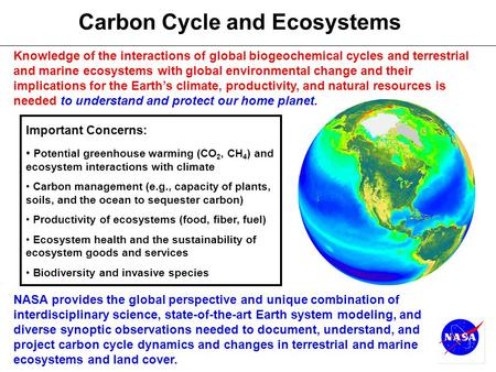 Carbon Cycle and Ecosystems Important Concerns: Potential greenhouse warming (CO 2, CH 4 ) and ecosystem interactions with climate Carbon management (e.g.,