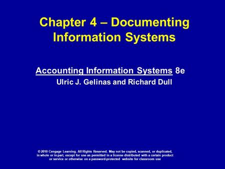 Chapter 4 – Documenting Information Systems