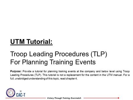 Troop Leading Procedures (TLP) For Planning Training Events