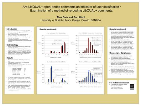 Introduction Goal of this work is to better understand Guelph's 2007 LibQUAL+ comments (in aggregate), within the context of the quantitative findings.