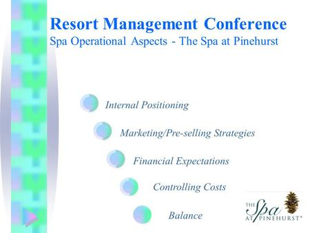 Internal Positioning Marketing/Pre-selling Strategies Financial Expectations Resort Management Conference Spa Operational Aspects - The Spa at Pinehurst.