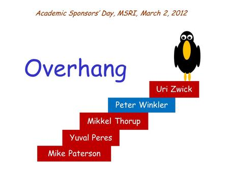 Mike Paterson Overhang Academic Sponsors' Day, MSRI, March 2, 2012 Peter Winkler Uri Zwick Yuval Peres Mikkel Thorup.