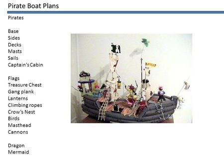 Pirate Boat Plans Pirates Base Sides Decks Masts Sails Captain's Cabin Flags Treasure Chest Gang plank Lanterns Climbing ropes Crow's Nest Birds Masthead.