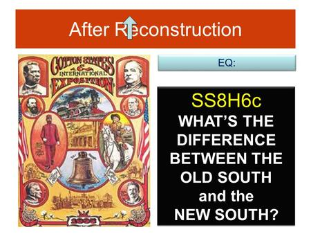 After Reconstruction SS8H6c WHAT'S THE DIFFERENCE BETWEEN THE OLD SOUTH and the NEW SOUTH? EQ: