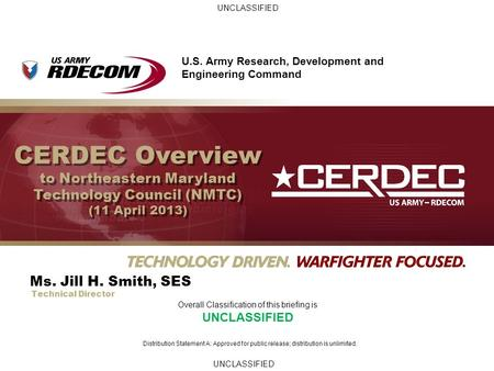 CERDEC Overview to Northeastern Maryland Technology Council (NMTC)