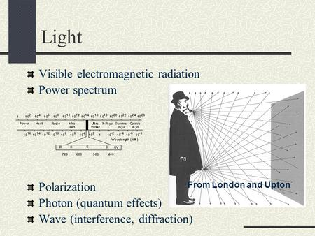 Light Visible electromagnetic radiation Power spectrum Polarization Photon (quantum effects) Wave (interference, diffraction) From London and Upton.