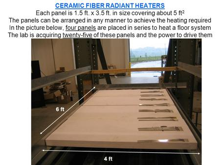 CERAMIC FIBER RADIANT HEATERS Each panel is 1.5 ft. x 3.5 ft. in size covering about 5 ft 2 The panels can be arranged in any manner to achieve the heating.