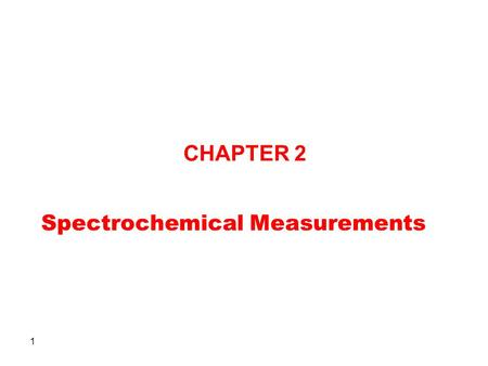 Spectrochemical Measurements
