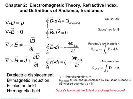Pat Arnott, ATMS 749 Atmospheric Radiation Transfer Chapter 2: Electromagnetic Theory, Refractive Index, and Definitions of Radiance, Irradiance. Gauss'