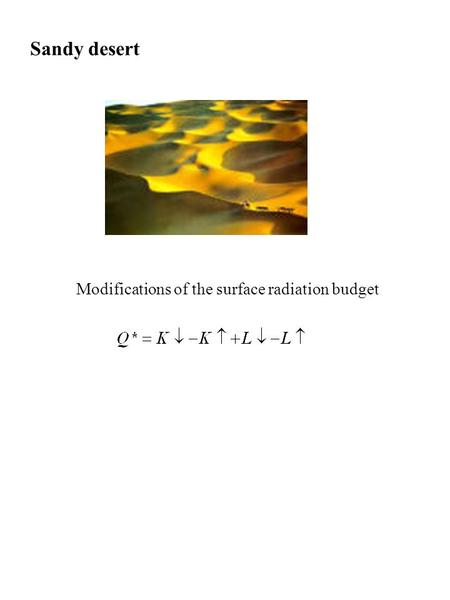 Sandy desert Modifications of the surface radiation budget.