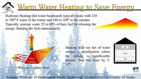 Assistant Professor of Construction Trades Technology Michael Hirt ~ University of Alaska Fairbanks 3 Ways to Transfer Heat Hydronic Heating (hot water.