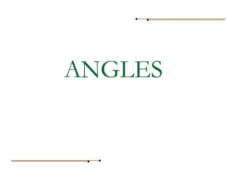 ANGLES. To name an angle, we name any point on one ray, then the vertex, and then any point on the other ray. For example:  ABC or  CBA We may also.
