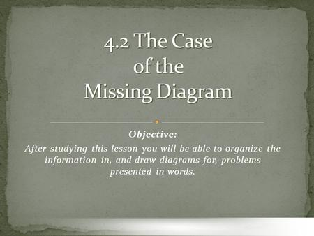 Objective: After studying this lesson you will be able to organize the information in, and draw diagrams for, problems presented in words.