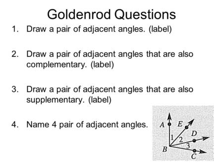 Goldenrod Questions 1.Draw a pair of adjacent angles. (label) 2.Draw a pair of adjacent angles that are also complementary. (label) 3.Draw a pair of adjacent.