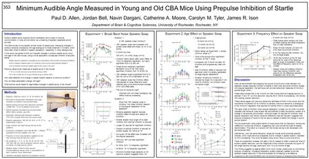 Minimum Audible Angle Measured in Young and Old CBA Mice Using Prepulse Inhibition of Startle Paul D. Allen, Jordan Bell, Navin Dargani, Catherine A. Moore,
