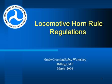 Locomotive Horn Rule Regulations