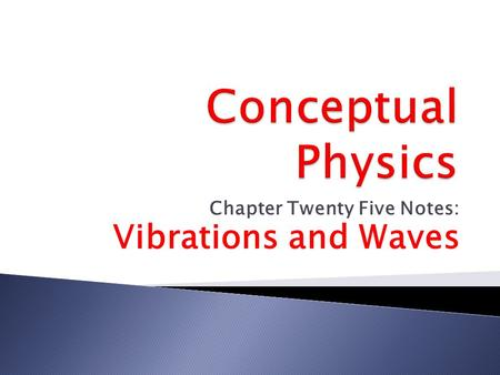 Chapter Twenty Five Notes: Vibrations and Waves.  Pendulums swing to and fro with regularity.  A complete to-and-fro oscillation is one vibration. 