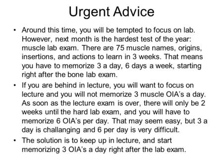 Urgent Advice Around this time, you will be tempted to focus on lab. However, next month is the hardest test of the year: muscle lab exam. There are 75.