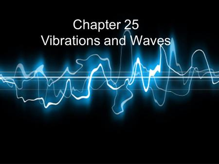Chapter 25 Vibrations and Waves. Vibration – a mechanical occillation around an equilibrium point Wave - a progressive disturbance propagated from point.