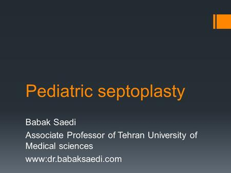 Pediatric septoplasty