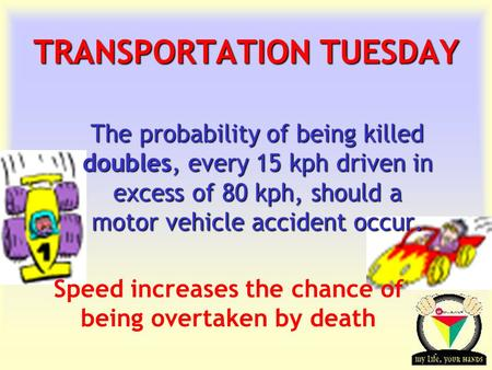 Transportation Tuesday TRANSPORTATION TUESDAY The probability of being killed doubles, every 15 kph driven in excess of 80 kph, should a motor vehicle.